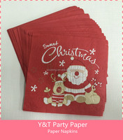 Disposable Paper Napkins Birthday Party Baby Shower Merry Christmas Santa Claus With Deer