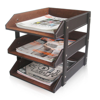 A273 Office Storage Box Leather File Desk Rack 3 Tier Document Tray
