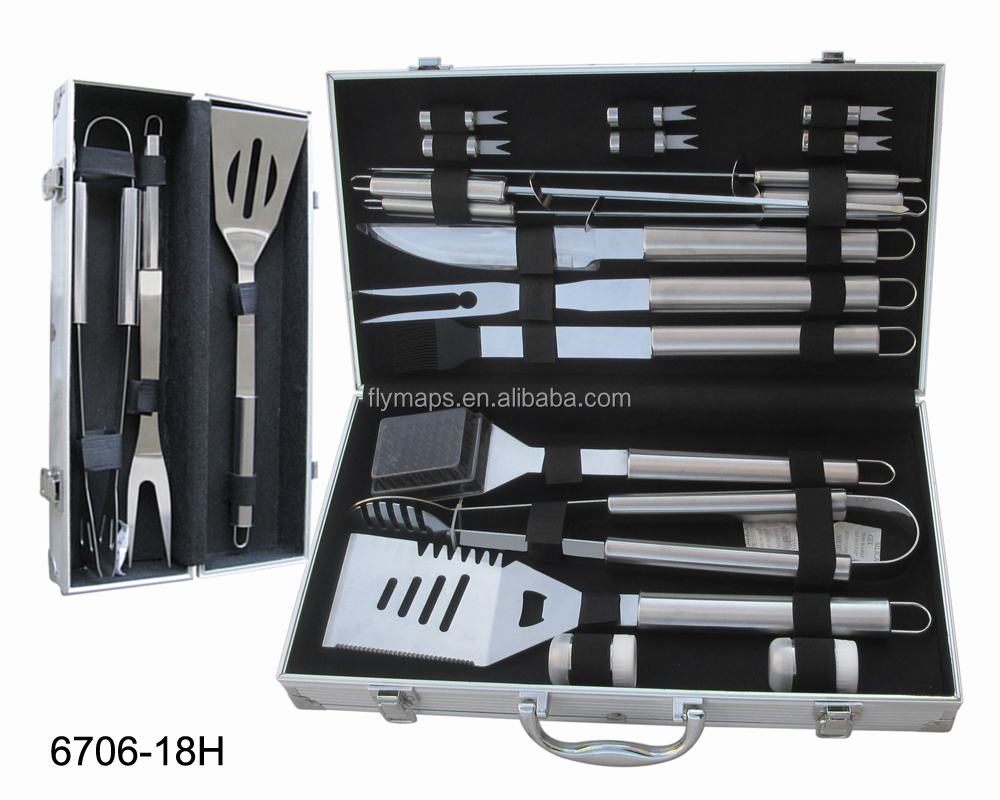 Spot goods 18 pcs set stainless steel bbq tool with carry case