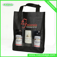 OEM Reusable Non Woven Divided Wine Tote Bag Bottle Handle Totes Wholesale