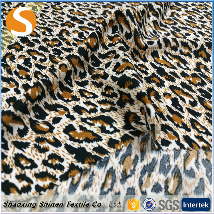 2017 Good sell leopard printed polyester spandex jersey fabric