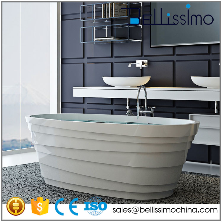 Cast stone and similar to Natural stone and Center Drain Location used bathtub BS-8631