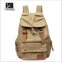 Retro High Quality Custom Leather Trim Sports Rucksack Bag Canvas Backpack for Men