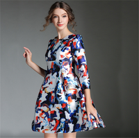 2016 Latest Floral Print Party Dress Japanese Prom A Line Dress