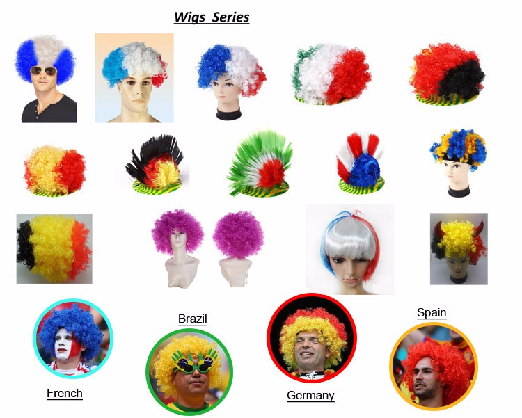 bob trading sports fans with wigs for men wholesale fan wig