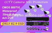Factory Promotion in Jan.analog camera system 800 TV line kit h.264 cctv 4ch dvr cms free software