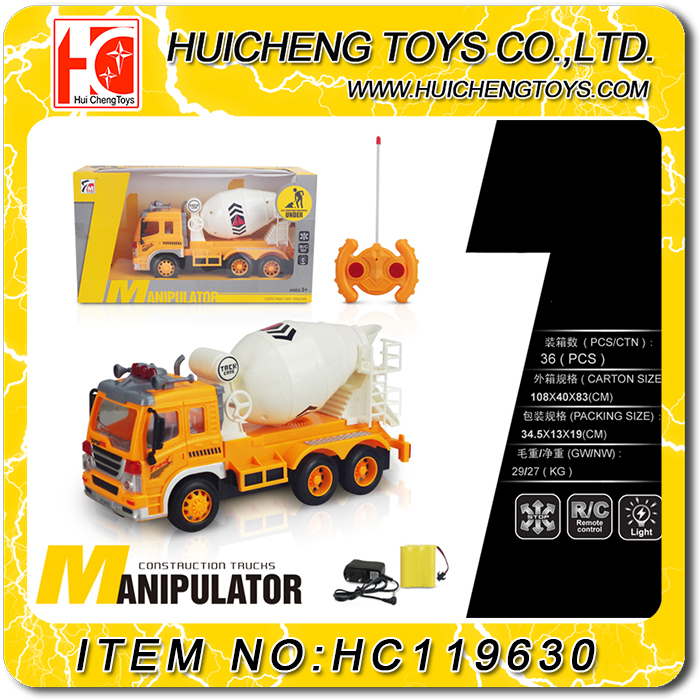 funny 4 channels rc construction toy truck excavator cementing truck with light B/O toys EN71