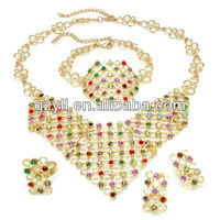 2013 Newest Arrival Popular peacock shaped colored rhinestone jewelry set