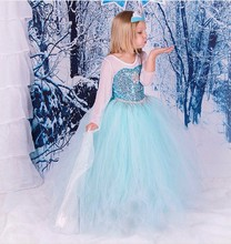 Frozen Girls Costume with Shiny Sequin Decorate Blue Color Girls Party Dance DressBX1699