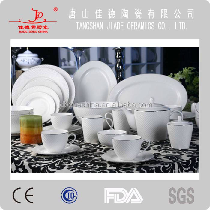 diamond shape coffee set fine bone china dinnerware with gold line