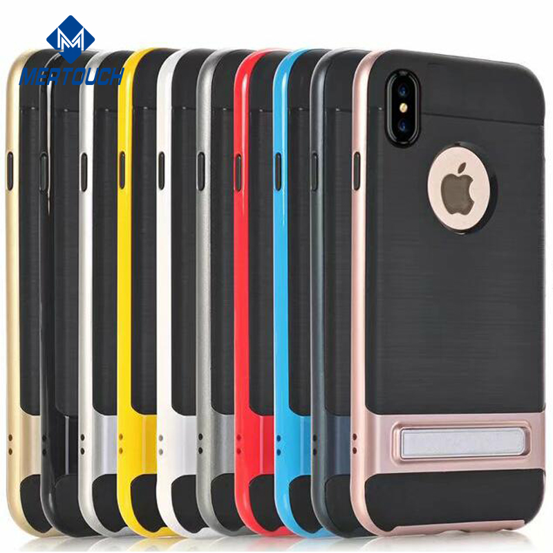 Shenzhen factory wholesale hard PC soft TPU bumper kickstand cover case for iPhone X