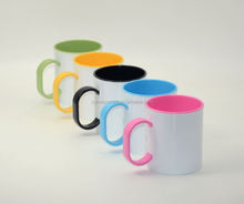 11oz Customized Printing Wholesale Blank Sublimation Personalized Travel Coffee Melamine Mug with Color Handle