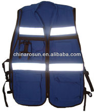 100% Cotton Safety Vest with pockets zipper closure
