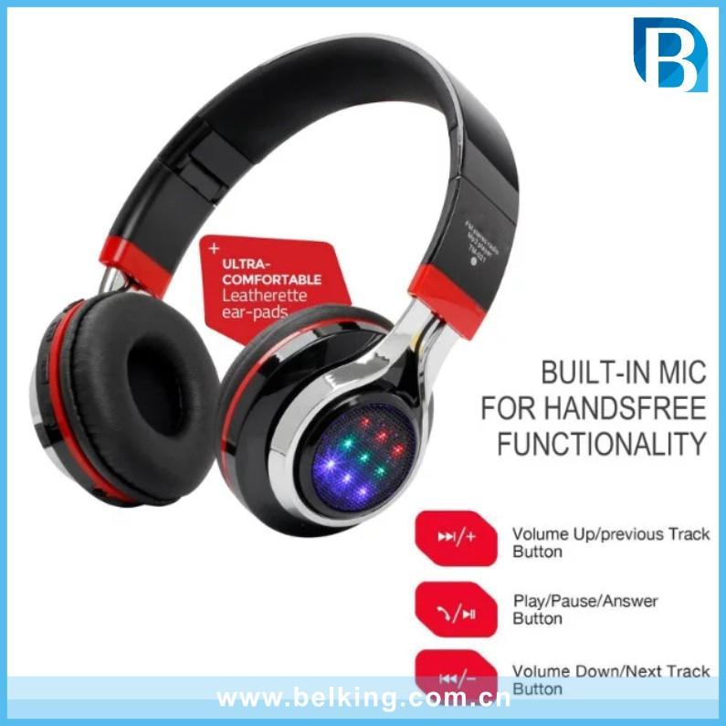 Promotional Wireless Bluetooth Led Light Stereo Music Earphone Headset For iPhone/Smartphone Bluetooth Headphone