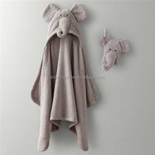 Cheap 100% Organic Cotton Bamboo terry cloth custom embroider kids grey elephant baby hooded baby towel