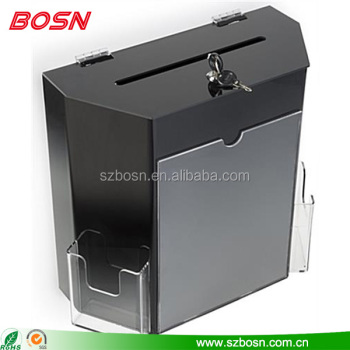 "High quality acrylic black & white Ballot Box plexiglass charity collection buckets with pocket and 8.5"" x11"" Frame"