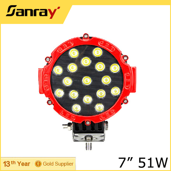 7'' 51W High Power LED Work Light, Offroad Working Lamp, Truck Driving Light