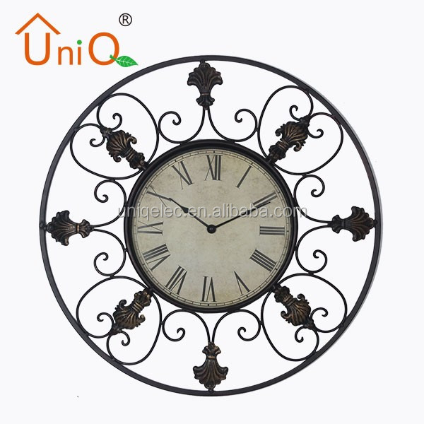 Round big wall art decor metal wall clock