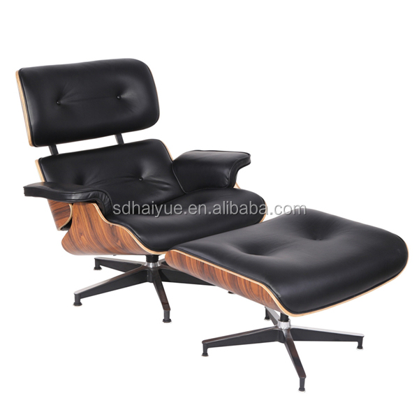 Mid Century Modern Early European Black Leather Lounge Chair w/Ottoman #2112