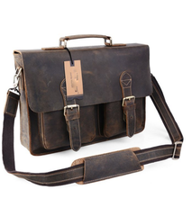 Crazy Horse Leather Vintage Men's Messenger Cross Body Bag