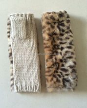 New very Fashion Chunky Knitting Acrylic Fingerless Mittens With Soft Faux Fur