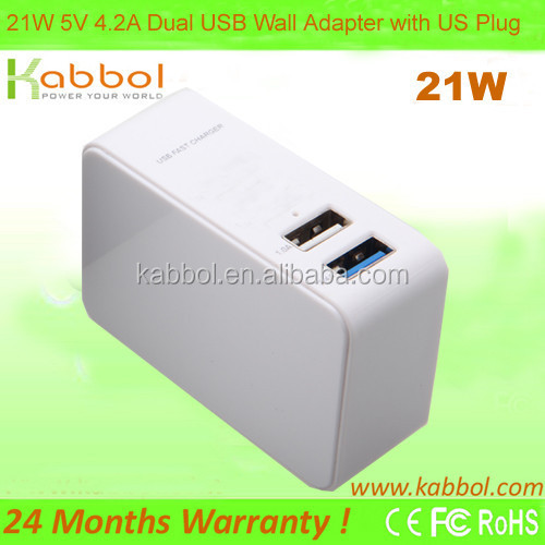 Fast21W 4.2A Portable Dual Port USB Wall Charger Travel Power Adapter for iPhone 6 Plus,Galaxy S6 , iPad 5 4 Mini,Google Tablet