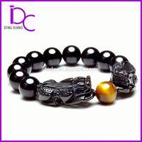 100% Natural Top Quality Obsidian Crystal Jewelry Bracelet Mascot Bracelet