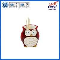 Adorable Ceramic Hollow Owl Toothpick Holder-Red,Cute Owl Ceramic Toothpick Boxes,Owl