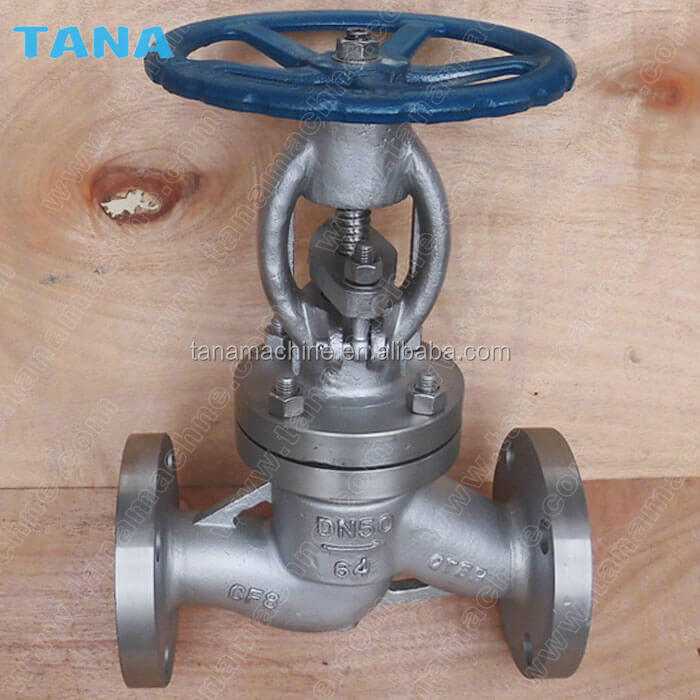 PN16 PN25 Rising stem Plug type disc Flanged stainless steel CF8M globe valve with Handwheel