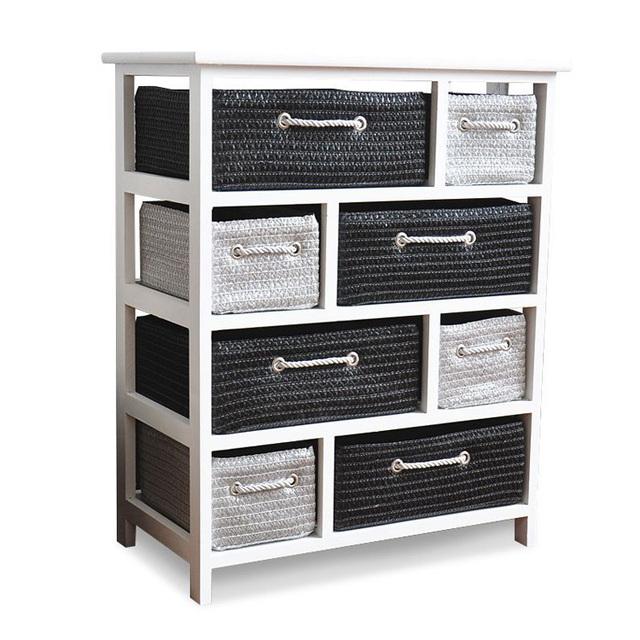White Wicker Basket Chest Drawers Shabby Furniture Living Storage Furniture