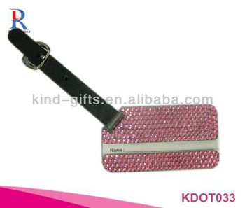 Bling Crystal Personalized Pink Leather Luggage Tags