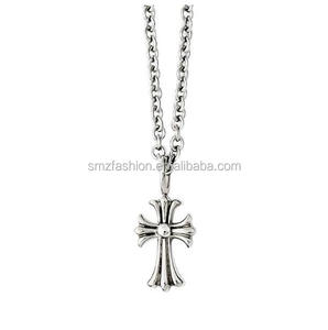 2016 Fashion Jewelry Antique Silver Cross Pendant Necklace