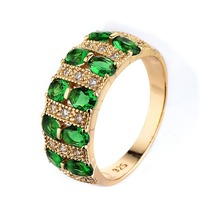 LY-07 Description Of A Wedding Emerald Diamond 18kg Gold Ring