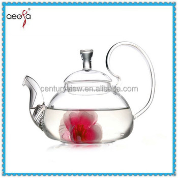Flower Design Clear Hot Pot Set Pyrex Glass Tea Press Pot Glass Tea Pot