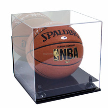 black base lucite plexiglass box clear custom square acrylic display case wall mount for basketball display & storage