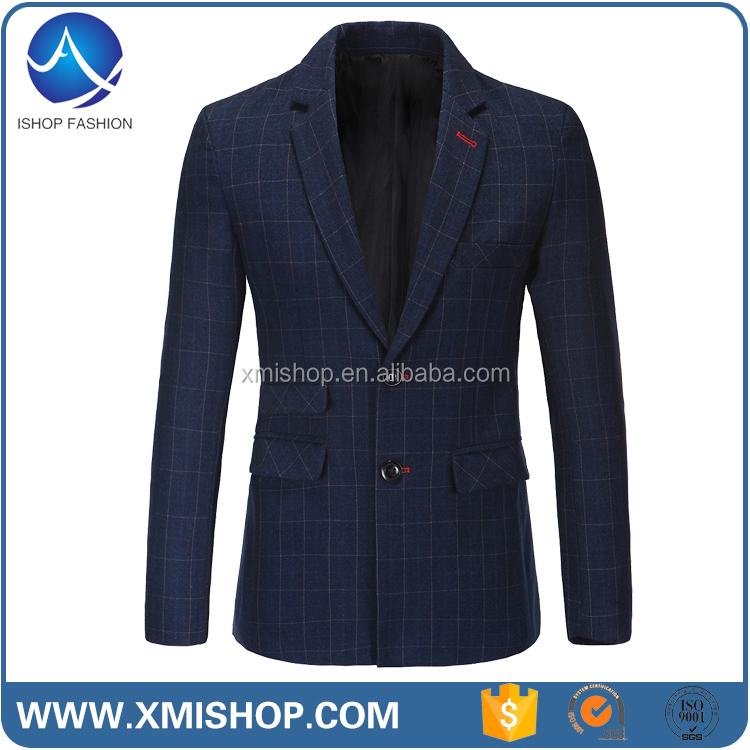 Slim Fitted Classical Cheap Black Woolen Blazers for Men