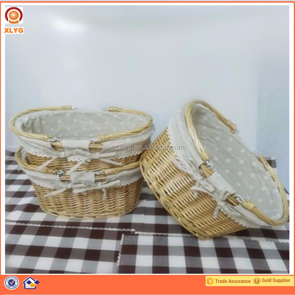 Oval big size cane weaving eco-friendly gift baskets