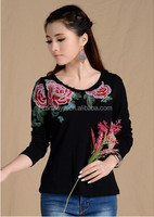 New Year ladies cotton Women Gender fashion high end party blouse womens modern embroidery designs long sleeve tops