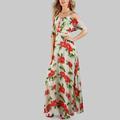 Brand Clothes for Women Flower Print Two Layered Flow Dress Women Dresses Long