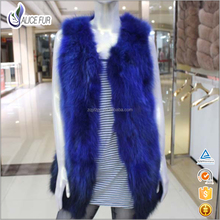 China High Fashion New Style Waistcoat Designs Real Raccoon Fur Gilet For Women