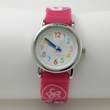 Free Shipping!! Eco Friendly 3D PVC Flower band Quartz Wrist Girls Waterproof Kid Children Watches