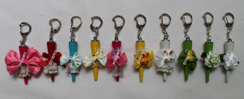 Fancy Creative Gift Ball Pen With Key Chain For Girl