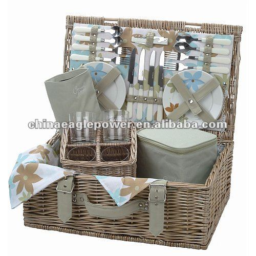 Picnic Basket Insulated Wicker Willow Utensils 4 Man