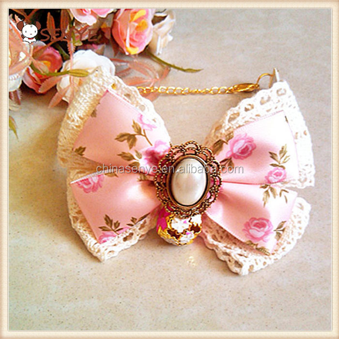 Bottom price best selling decorative Ribbon Lace Pearl Bow Cut Cat Pearl Collar