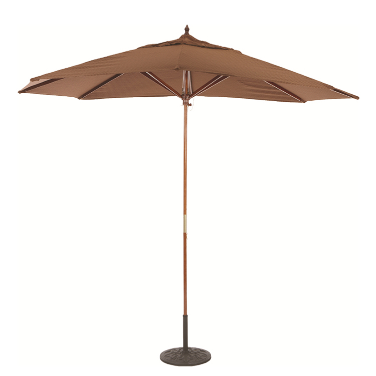 Sun shade bamboo wood material outdoor patio umbrella with base
