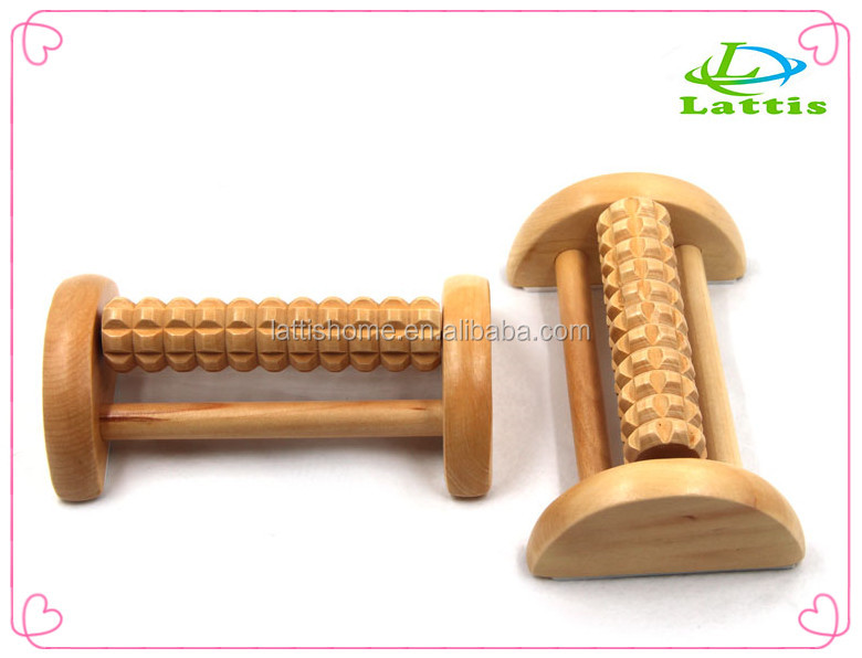 High quality bulk custom soft comfy wooden foot massager rolling foot massager