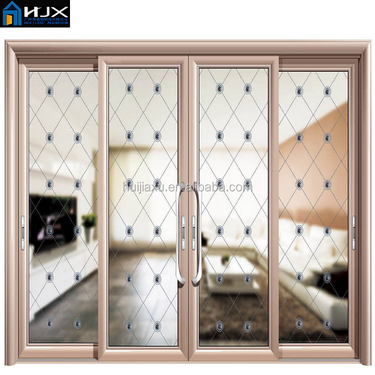Large Sliding Aluminum Entrance Glass Door Grill Design For Doors