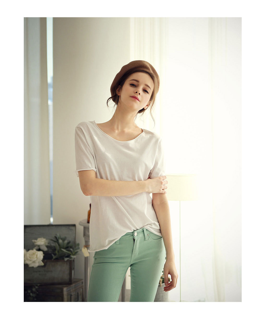2018Summer pure color sets of round low-neck short-sleeved sets European station women's T-shirt loose wholesale