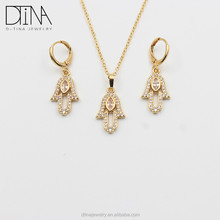 Wholesale Environmental Copper materials 18k gold jewelry set for women