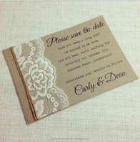 Vintage Craft Invitations With Lace and Hessian Rope